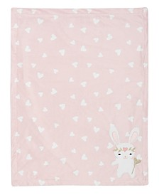 Lambs & Ivy Confetti Bunny with Hearts Luxury Fleece Baby Blanket
