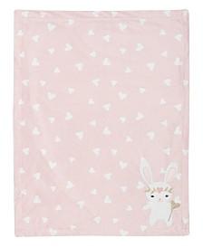 Lambs & Ivy Confetti Bunny with Hearts Luxury Fleece Baby Blanket