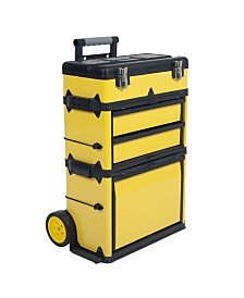 Trademark Global Stackable Toolbox Rolling Mobile organizer with Telescopic Comfort Grip Handle Upright Rigid Pack Out Cart with Wheels and Drawers by Stalwart