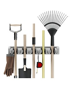 Shovel, Rake and Tool Holder with Hooks - Wall Mounted Organizer by Stalwart