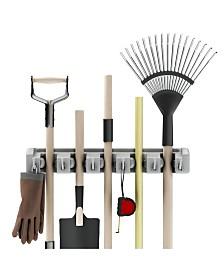 Trademark Global Shovel, Rake and Tool Holder with Hooks - Wall Mounted Organizer by Stalwart
