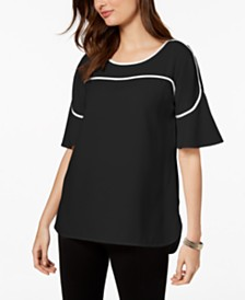 Alfani Piped Flutter-Sleeve Top, Created for Macy's