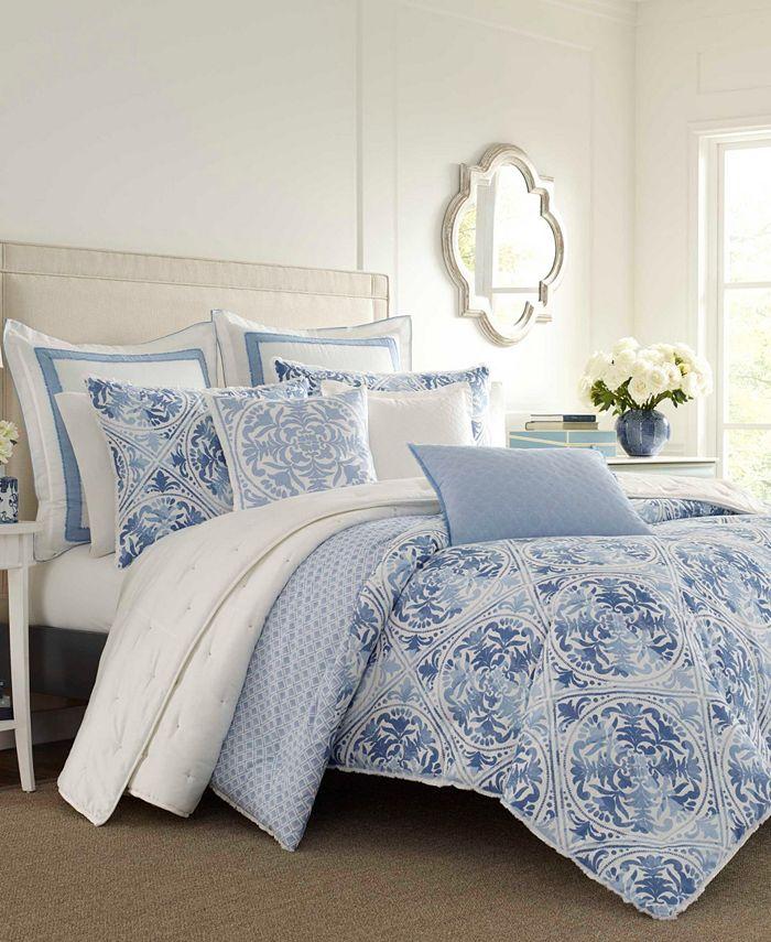 Laura Ashley - Mila Blue Comforter Set, Full/Queen
