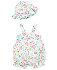 Little Me Baby Girls 2-Pc. Floral-Print Cotton Romper & Sun Hat Set