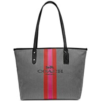 Coach Horse & Carriage Jacquard City Tote (Charcoal/Silver)
