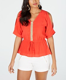 Thalia Sodi Cold-Shoulder Peplum Top, Created for Macy's