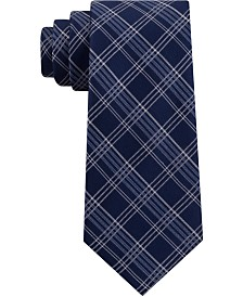 Michael Kors Men's Fine Line Double Line Check Silk Tie