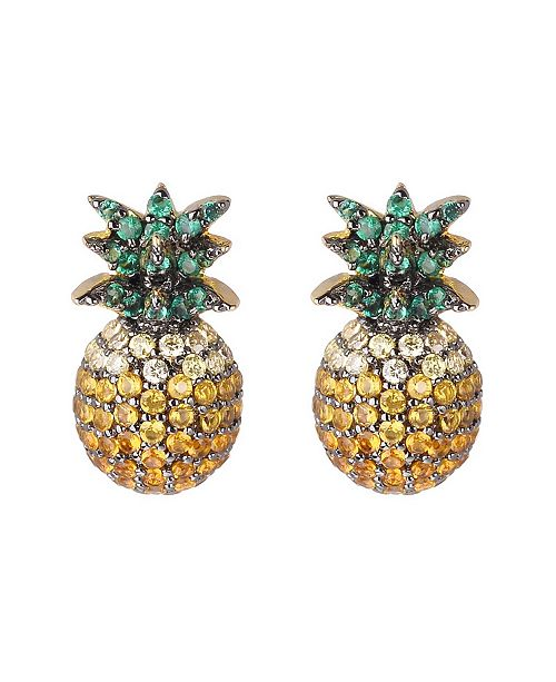 da92bdf32 nOir Multi Stone Cubic Zirconia Pineapple Stud Earring & Reviews ...