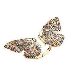 Multi-Colored Cubic Zirconia Butterfly Wing Ring