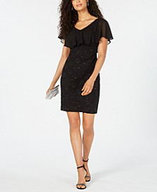 Sequined Lace Overlay Sheath Dress