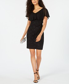 Connected Sequined Lace Overlay Sheath Dress