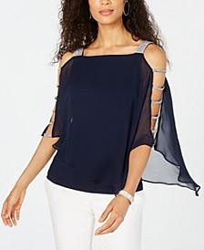 Embellished Cold-Shoulder Top