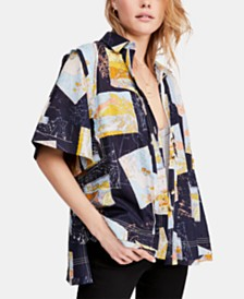 Free People Love Letters Cotton Printed Shirt