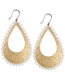 Lucky Brand Gold-Tone Imitation Pearl Beaded Sculptural Drop Earrings