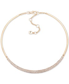 "DKNY Gold-Tone Micropavé Bar Hard Collar Necklace, 16"" + 3"" extender"