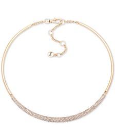 "DKNY Gold-Tone Micropavé Bar Hard Collar Necklace, 16"" + 3"" extender"