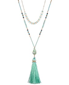 "Gold-Tone Stone, Bead & Imitation Pearl Layered Tassel Pendant Necklace, 32"" + 3"" extender"