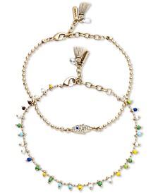 lonna & lilly Gold-Tone 2-Pc. Set Crystal & Bead Hamsa Hand Ankle Bracelets