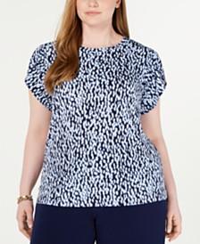 MICHAEL Michael Kors Plus Size Ikat-Print Petal-Sleeve Top
