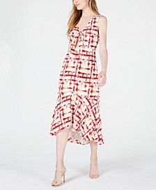 Printed Cutout Midi Dress
