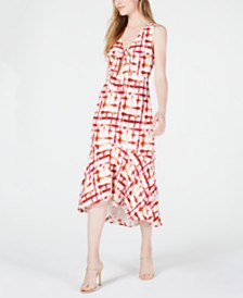LEYDEN Printed Cutout Midi Dress