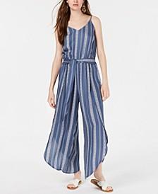 Juniors' Striped Tulip-Hem Jumpsuit, Created for Macy's