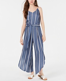 American Rag Juniors' Striped Tulip-Hem Jumpsuit, Created for Macy's