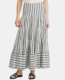 Petite Striped Jersey Peasant Skirt