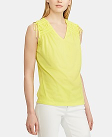 Lauren Ralph Lauren Petite Tassel-Trim Cinched Cotton Top