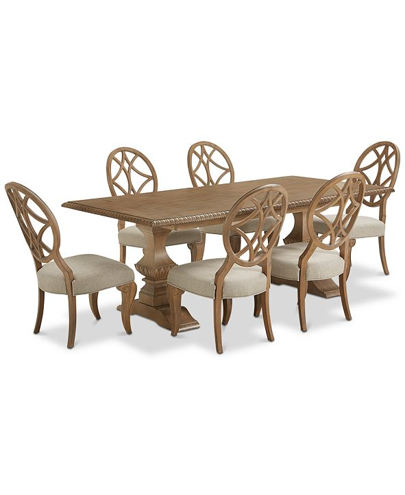 Furniture Trisha Yearwood Jasper County Stately Brown Rectangular Dining Furniture, 7-Pc. Set (Table & 6 Side Chairs)