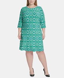 Tommy Hilfiger Plus Size Mandala-Print Dress