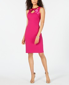 Jessica Howard Petite Satin Triple-Keyhole Dress