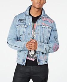 GUESS Men's Dillon Graffiti-Print Destroyed Denim Jacket