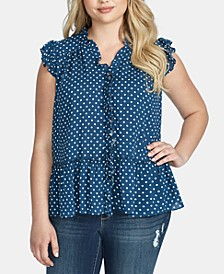 Trendy Plus Size Drey Ruffled Peplum Top