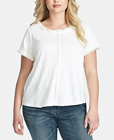 Jessica Simpson Trendy Plus Size Isabella Frayed T-Shirt