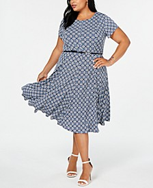 Plus Size Printed Cap-Sleeve Dress