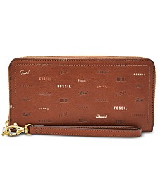 Fossil Logan RFID Logo Zip Around Leather Wallet