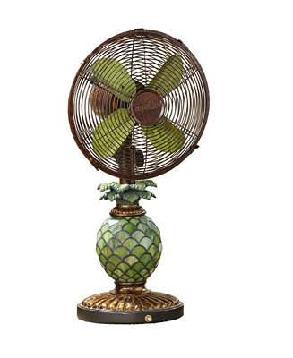 Decobreeze Table Fan With Lamp Mosaic Glass Pineapple