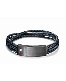 Tommy Hilfiger Men's Navy Stainless Steel Four-Row Braided Leather Bracelet