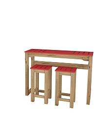 """Manhattan Comfort 3-Piece Stillwell 47.3"""" Bar Kitchen Set in Wood"""