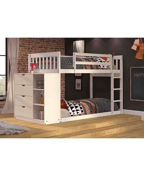 Donco Kids Twin Over Twin Mission Chest Bunk Bed