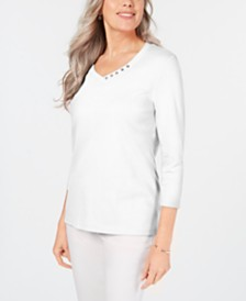 Karen Scott Cotton V-Neck Button-Trim Top, Created for Macy's
