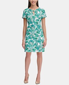 Tommy Hilfiger Palm-Print Keyhole Dress