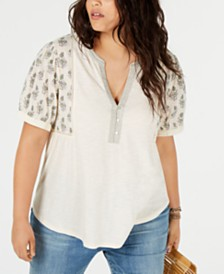 Lucky Brand Plus Size Mixed Media Embroidered Top