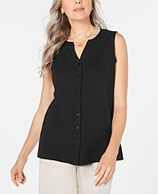 Cotton Sleeveless Button-Up Top, Created for Macy's