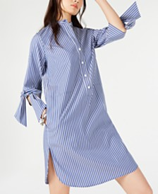 MICHAEL Michael Kors Striped Tie-Sleeve Shift Dress