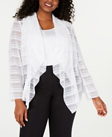 Alfani Plus Size Waterfall Mesh Jacket, Created for Macy's