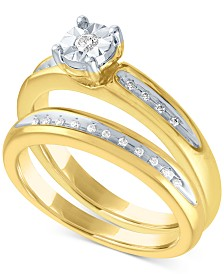 Diamond Bridal Set (1/10 ct. t.w.) in 14k Gold Over Sterling Silver