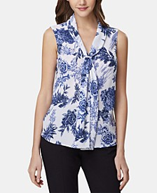 Floral-Print Tie-Neck Top
