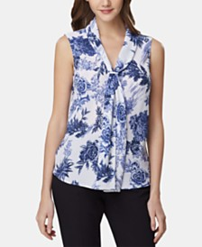 Tahari ASL Petite Printed Sailor Top